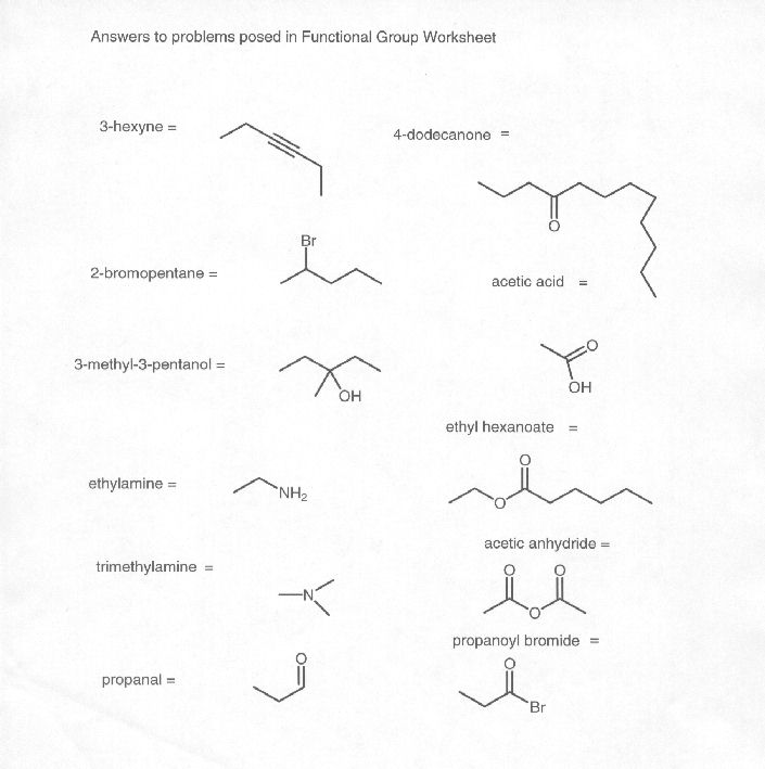 Answers to Functional Group Worksheet